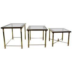 Maison Jansen Style Brass Smoked Glass Nesting Tables   1stdibs.com