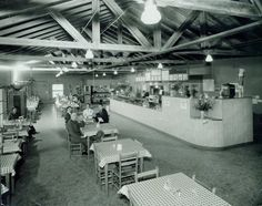 Interior view of the Milk Farm restaurant about 1942. The restaurant was a well-known stop for hungry travelers along Interstate 40 (80) until the 1980's when it closed.  The menu included T-Bone dinners for 85 cents and chicken dinners for 75 cents. DPL Archives 2005.6.110
