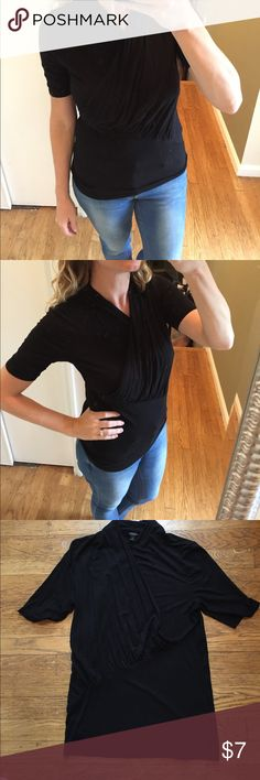 Ann Taylor black wrap shirt Perfect for layering. To stains or pulls. Size medium. Plenty of stretch. Ann Taylor Tops Blouses