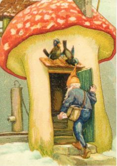 Vintage Christmas postcard,with a gnome entering a toadstool house.