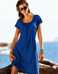 La robe de plage - noir, bleu roi -