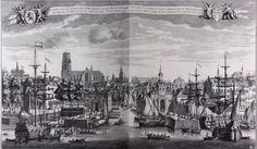 """Rotterdam - """"Gesigt van de seer beroemde Koop-stadt Rotterdam geleegen in Holland te sien by het oude Hooft"""" Techniek: Kopergravure Maker: L. Schenk Datering: Ca. 1786"""
