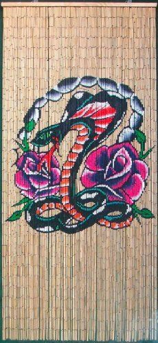 "Cobra Roses Beaded Curtain 125 Strands (+hanging hardware) by ABeadedCurtain. $55.19. Truly a piece of hand painted artwork. Fits most doorways and windows. Also looks wonderful when hung on walls as beaded wall art.. Each bead is completely painted so the image is viewable from both sides at any angle.. Currently the highest quality bamboo beaded curtain being manufactured.. Each bamboo curtain is 36"" x 79"" with 125 strands attached to a wooden hanging bar. Curta..."