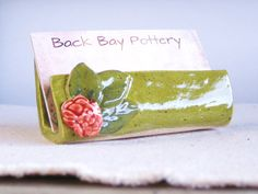 Ceramic Business Card Holder Blossom with Green by BackBayPottery (Clay Business Card Holder) Pottery Tools, Pottery Classes, Slab Pottery, Ceramic Pottery, Pottery Ideas, Pottery Mugs, Stoneware Clay, Ceramic Mugs, Ceramic Art