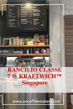 RANCILIO CLASSE 7 @ KRAFTWICH™ Singapore Type of Coffee Machine: RANCILIO CLASSE 7- Up to 4 different programmable brew doses- Automated daily cleaning program- Clever steam wand handle - fast action & ergonomic- Made from stainless steel and painted steel KRAFTWICH™ at Paya Lebar Square is a café concept by Swissbake offering healthy & nutritious meals in a comfortable, contemporary setting (from their homepage). Cafe Concept, Automatic Espresso Machine, Different Coffees, Coffee Service, Coffee Machines, Daily Cleaning, Coffee Type, Light Recipes, Nutritious Meals