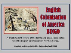 Playing BINGO is a great way to review for the big test.  The English Colonization of America BINGO game is a complete set of 32 completed BINGO cards, 59 terms, master game board and markers.  This product is available on TPT at http://www.teacherspayteachers.com/Product/English-Colonization-of-America-BINGO-game-1017845