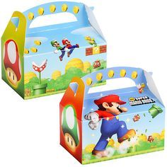 """Super Mario Bros. Empty Favor Boxes Includes: (4) cardboard 6""""W x 4""""H x 3""""D empty favor boxes. Adult assembly required. This is a officially licensed Mario product. Weight (lbs) 0.06 Length (inches) 1"""