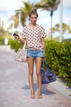 polka dots, denim and a top knot….summer fashion