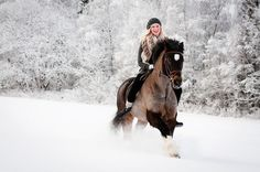 Bareback in the winter snow. Horses coordinate with any season. Now THIS is FUN!