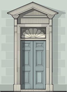 Georgian Door Detail with Pediment & Gan Light