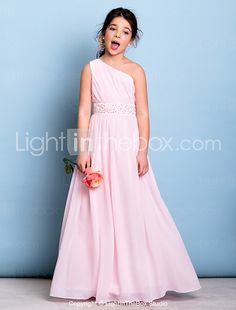 Floor-length Chiffon Junior Bridesmaid Dress A-line One Shoulder with Beading / Sash / Ribbon / Side Draping 2016 - $89.99