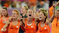 The Netherlands celebrate after winning gold in the women's Hockey competition on Day 14 at London 2012. #Olympics Olympics
