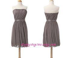 Short chiffon grey bridesmaid dress/ junior bridesmaid dress/ wedding party dress with hand ruching