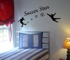 Soccer Players Shooting Goal Decal Sticker Wall by PerfectPeacocks, $24.00