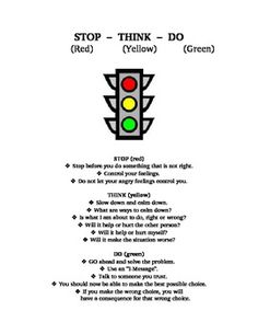 Anger stoplight - teaching young children how to identify and handle their anger