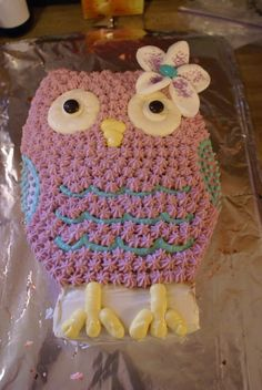 Easy owl cake (photo only) Birthday Cake Girls, 2nd Birthday Parties, Birthday Cakes, Owl Cakes, Cupcake Cakes, Cupcakes, Easy Owl Cake, Party Fun, Party Ideas
