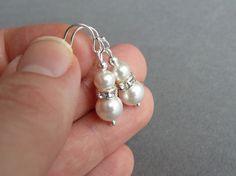 Ivory Pearl Drop Earrings - White Swarovski Pearl and Crystal Bridal Jewellery