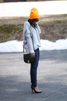 Bright beanie. via StyleLust Pages: Hot Head