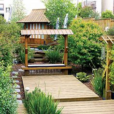 Our inventive readers show how to create the backyard of your dreams, even on a budget Outdoor Retreat, Outdoor Rooms, Outdoor Living, Outdoor Decor, Outdoor Ideas, Outdoor Curtains, Landscape Design, Garden Design, Asian Landscape