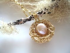 Gold Birds Nest Necklace mommy jewelry gifts for by ACupOfSparkle, $56.00