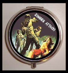 Zombie Attack Living Dead Psychobilly Pill box Pillbox Case Holder NEW