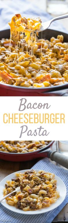 This gluten free Bacon Cheeseburger Pasta recipe has all the fabulous flavors of a bacon cheeseburger but in a skillet!