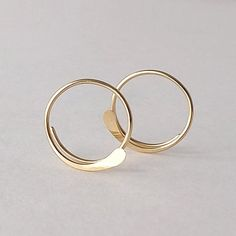 Solid Gold Open Hoop Earrings Hammered Simple 14k by ArtistiKat