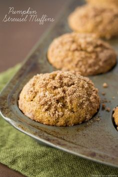Pumpkin muffins topped with a delicious streusel topping makes these muffins your next go to muffin recipe!