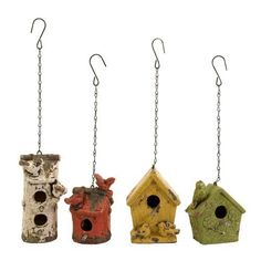 IMAX Mercade Birdhouses - Set of 4 - 40131-4. IMAX Mercade Birdhouses - Set of 4 - 40131-4 Set of four hanging bird houses each a separate color and each a unique style. Product Specifications Dimensions 5.25-7 D x 4.5-5 W x 7.5-10.5 H (inches) Item weight 21.56 lbs. .. . See More Birdhouses at http://www.ourgreatshop.com/Birdhouses-C750.aspx