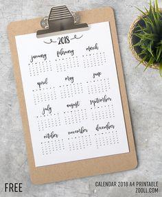 FREE Printable Calendar 2018 #calendar2018 #printablecalendar2018 #freecalendar2018 #freeprintable #year2018