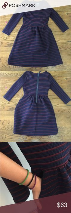 Navy & Burgundy Anthropologie Dress ONCE WORN. This is a super nice dress with: pockets, a showing zipper, defined waist, and REALLY nice material. It has quarter length sleeves. It is by the brand MAEVE from Anthropologie Anthropologie Dresses Midi