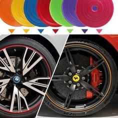 새로운 자동차 스타일링 9 가능한 색상 다채로운 스트립 자동차 자동 세련된 휠 림 보호기 케어 8 메터/롤 유연한