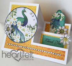 Peacock Paisley Side Step Card.  Often, patterned paper can substitute beautifully for stamped images.  x0x P.