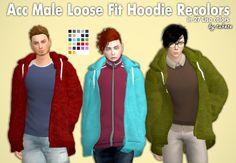 Acc Male Loose Fit Hoodie Recolors by Tukete.