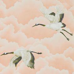 Les papiers peints les plus inspirants pour une chambre d'enfant / Papier peint Cranes In Flight, colelction Palmetto (Harlequin)