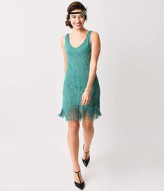 1920s Style Teal Green Beaded Fringe Flapper Dress