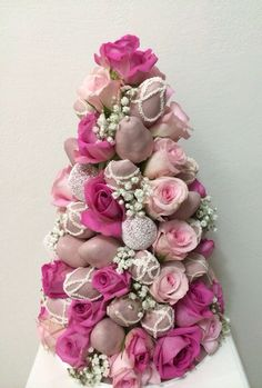 Pretty Pink Strawberry and Rose Tower