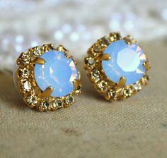 Crystal stud aqua blue earring - 14k plated gold post earrings real swarovski rhinestones .