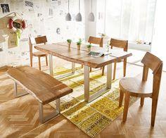 Baumtisch Live-Edge 180x100 Akazie Natur Platte 5,5 Gestell schmal Butterfly Möbel Tische Esstische