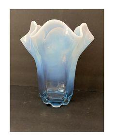 Vintage Duncan & Miller Canterbury Vase Blue Opalescent Wide | Etsy