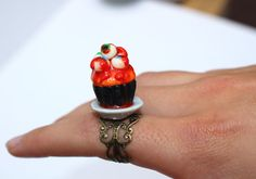 halloween cupcake ring halloween ring eyeball by DizzyDayDreamz