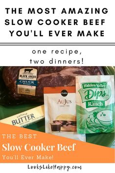 The Most Amazing Slow Cooker Beef You'll Ever Make - Looks Like Happy  #slowcooker #crockpot #slowcookerbeef #crockpotbeef #dinnerideas #recipe #beef #slowcookerdiner #crockpotdinner #easydinner #dinnertonight #whatsfordinner