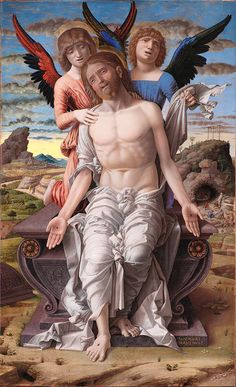 Christ as the Suffering Redeemer ~ Andrea Mantegna (Italian, ~ Renaissance Tempera on Panel National Gallery of Denmark, København, Denmark Renaissance Time, Renaissance Kunst, Renaissance Artists, Renaissance Paintings, Italian Renaissance, Google Art Project, Catholic Art, Religious Art, Pontius Pilatus