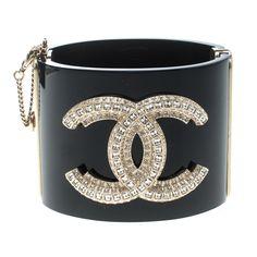 cda172ddbff Chanel CC Crystal Studded Black Resin Hinged Wide Cuff Bracelet Chanel Cuff  Bracelet