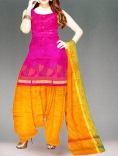 Shop online designer pure uppada silk pattu punjabi suit at unnatiislks.com Rani pink and yellow color unstitched Uppada pure silk salwar kameez with matching dupatta.This dress material has got all over yellow,green floral thread weaving along with zari border kameez.And it has yellow silk plain salwar with zari border chunni.It is perfect for party and wedding wear. To purchase online uppada pure silk salwar kameez please visit our site http://www.unnatisilks.com