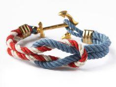 Kiel James Patrick Anchor Bracelet in Blue/Red/White