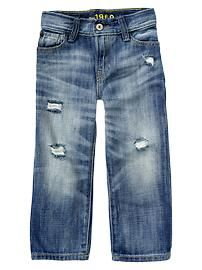 Loose fit distressed jeans (medium wash)