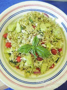Italian Basil Orzo Salad- orzo, roasted zucchini, summer veggies, & a fresh basil dressing combine in this perfect summer salad, recipe on thefrugalfoodiemama.com