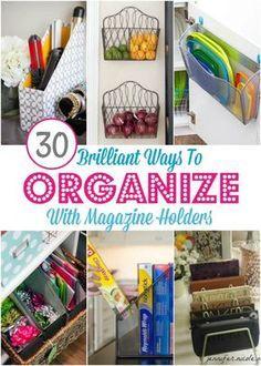 30 Clever Ways To Organize With Magazine Holders Kitchen Hacks Organization Kitchen Storage Organization Diy Magazine Holders