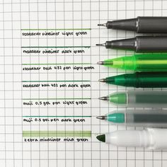 """4,126 Likes, 21 Comments - ✨ e m m a (@emmastudiess) on Instagram: """"little pen swatch of some green pens (featuring my tiniest handwriting!)✨ didn't realise i had so…"""""""